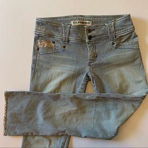 Sz 7/8 Vintage Express jeans with floral detail